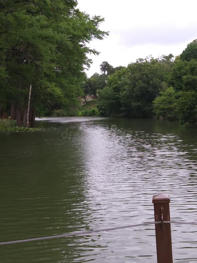 在桥梁附近的瓜达卢佩河在公园kerrville tx 免版税库存照片