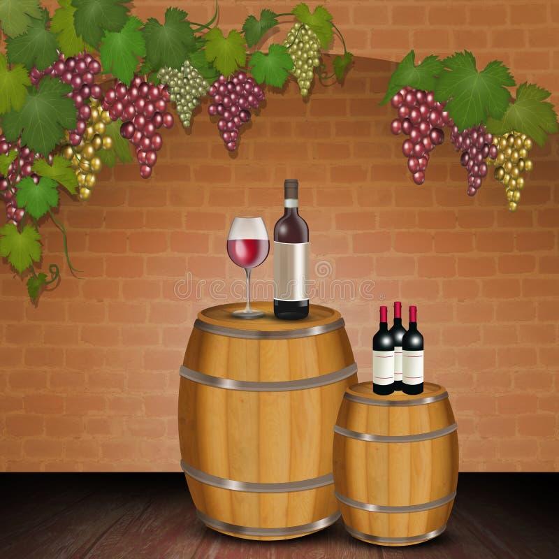 在桶的红酒 皇族释放例证