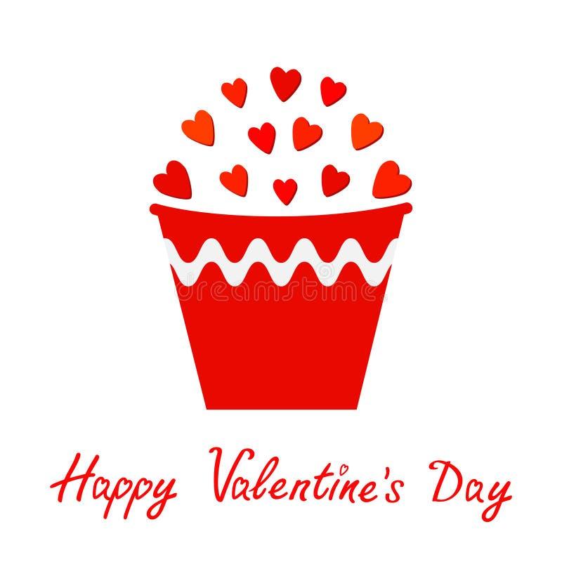 在桶设置的红色心脏 礼物对象 花盆 愉快的情人节卡片平的设计 查出 奶油被装载的饼干 皇族释放例证
