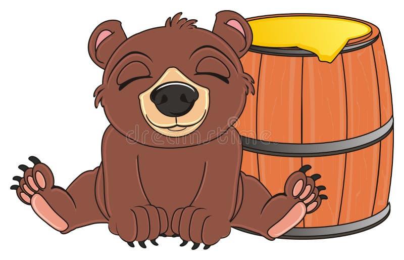 在桶附近的熊睡眠 皇族释放例证