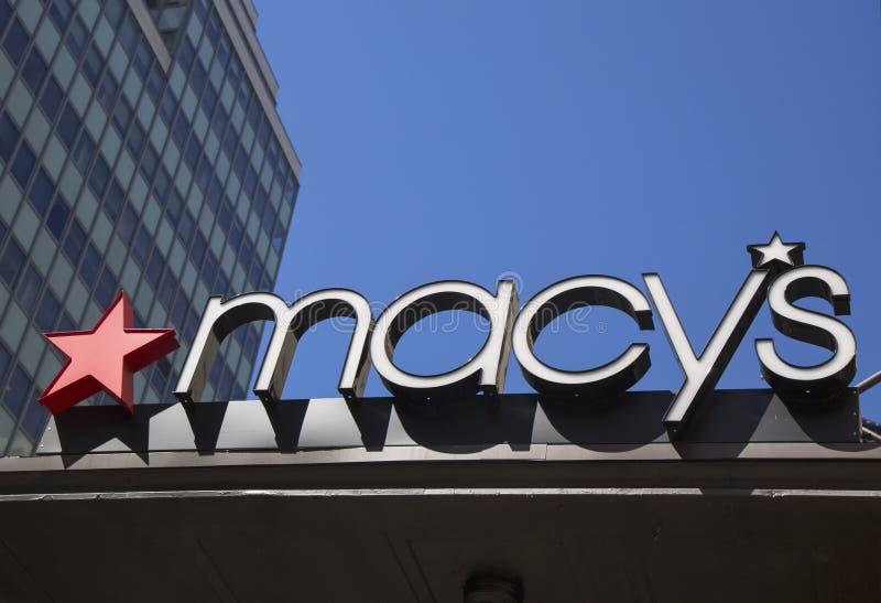 在梅西百货公司先驱广场的标志百老汇的在曼哈顿 库存照片