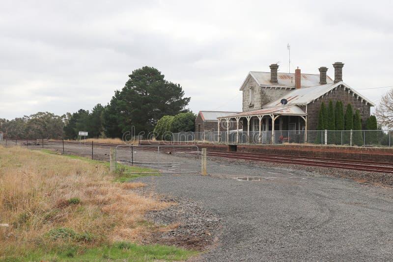 在梅雷迪思的蓝灰沙岩前火车站1862现在是私人住宅 图库摄影