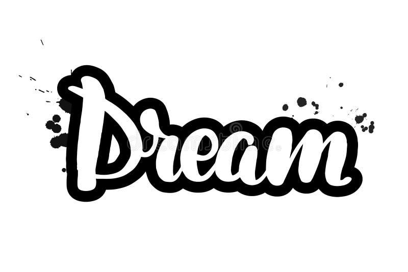在梦想上写字的刷子 向量例证