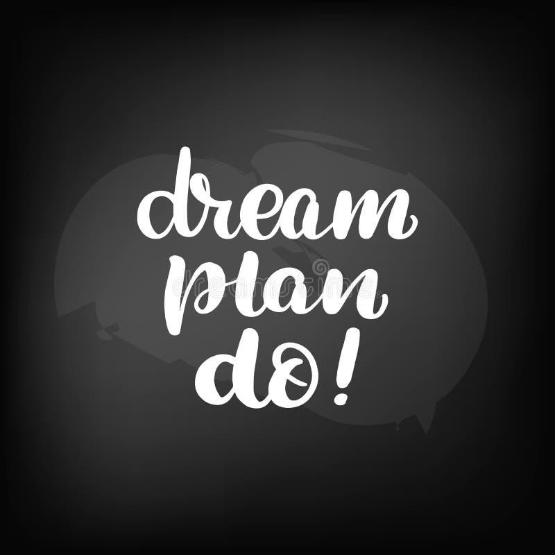 在梦想计划上写字做 皇族释放例证