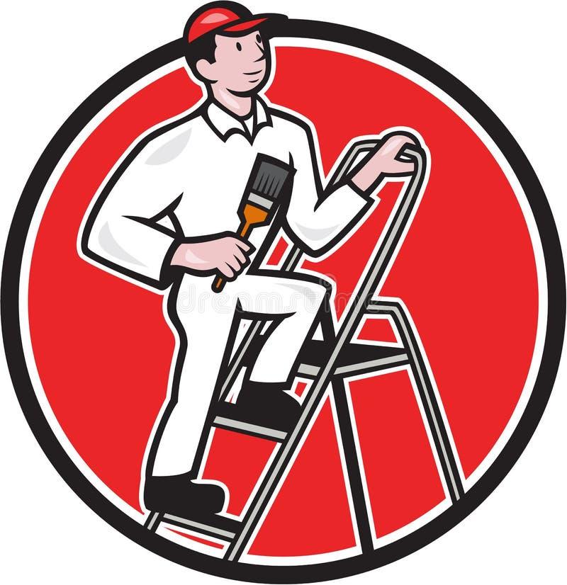 在梯子动画片的房屋油漆工油漆刷 库存例证