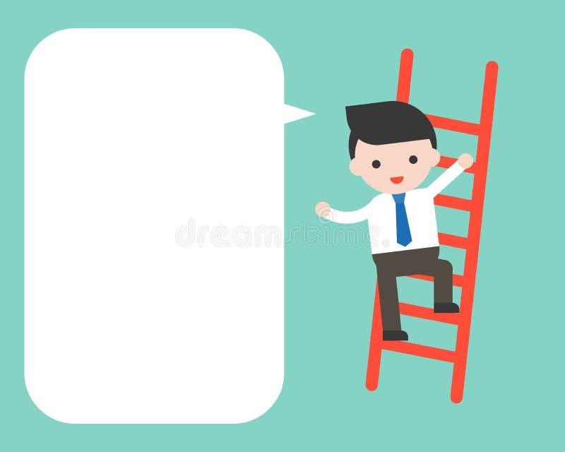 在梯子的商人clim和空白的讲话起泡,企业cha 库存例证