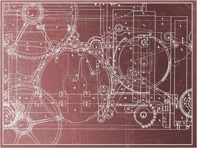 在梯度的技术计划例证齿轮机器产业 向量例证