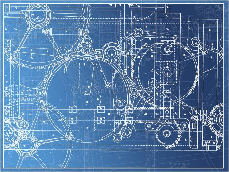 在梯度的技术计划例证齿轮机器产业 皇族释放例证