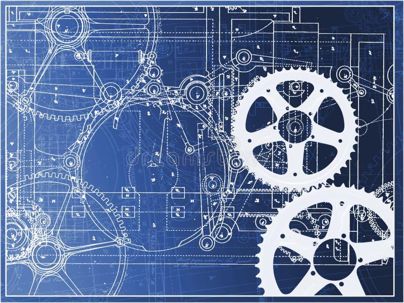 在梯度的技术计划例证齿轮机器产业 库存例证