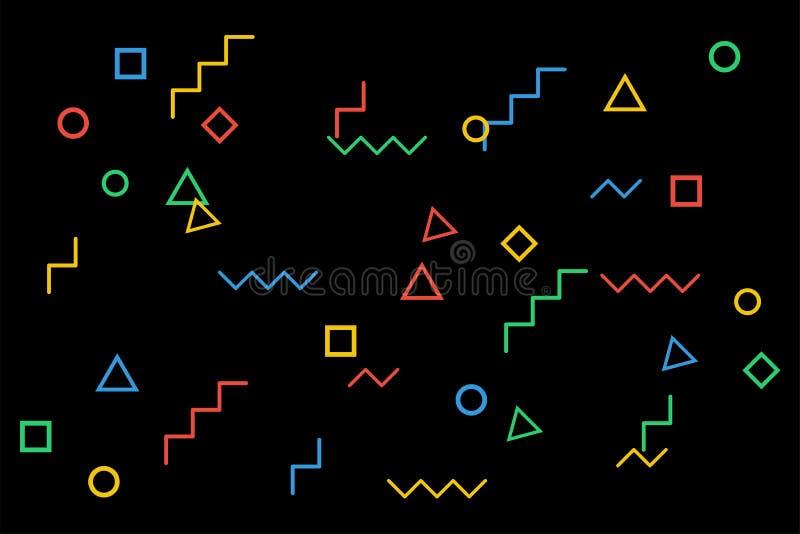 在梯度背景的几何图 盘旋五颜六色的线路 平的设计 Minimalistic设计 海报或横幅 向量我 库存例证