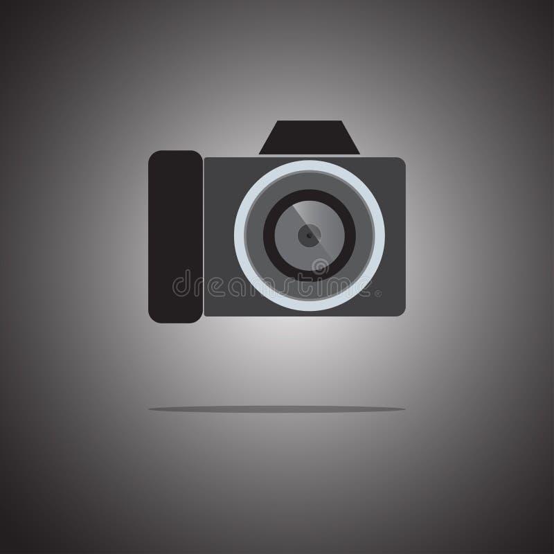 在梯度背景的照相机象平的样式 ?? ?? 库存例证