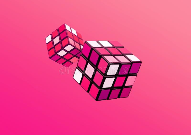 在梯度颜色的抽象立方体艺术 幻想创造性背景概念 库存照片