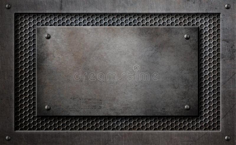 在梳子栅格背景3d例证的金属匾 皇族释放例证
