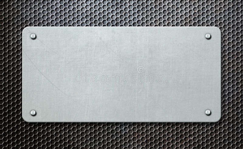 在梳子背景3d例证的金属匾 库存例证