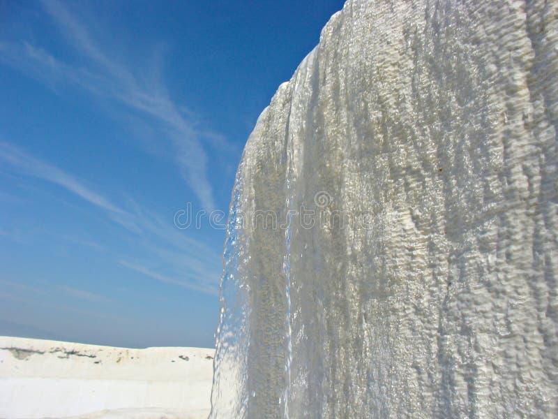 在棉花堡迷人水池的小瀑布在土耳其 棉花堡 免版税图库摄影
