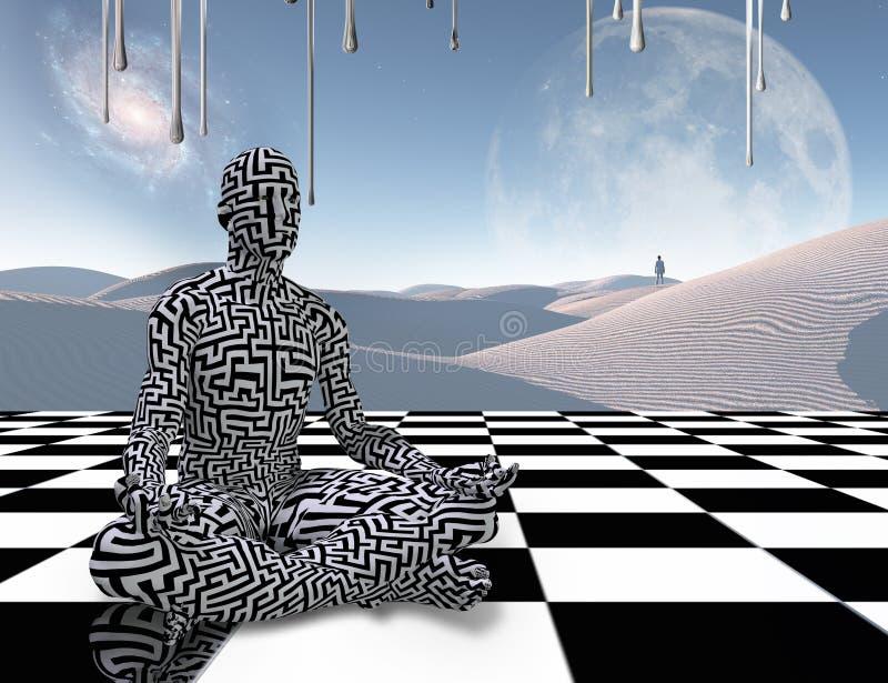 在棋枰的凝思 向量例证