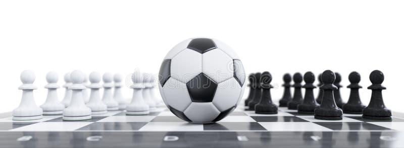 在棋盘的一个足球 向量例证