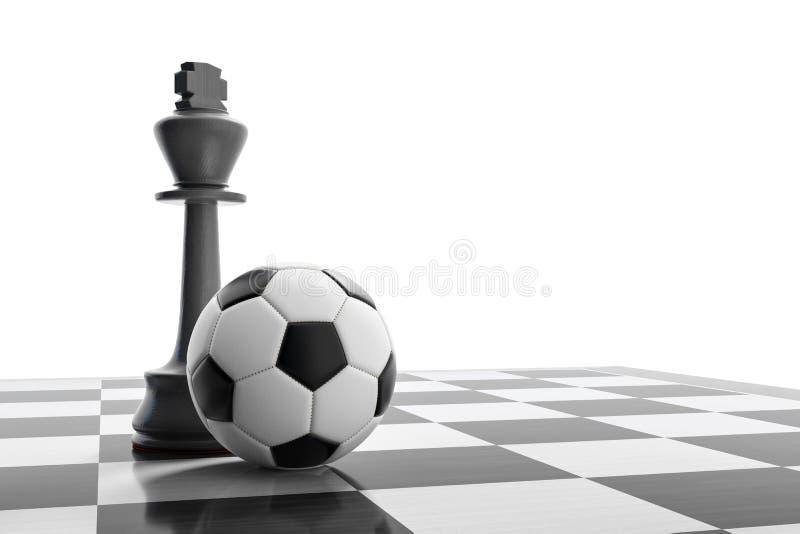 在棋盘的一个足球 皇族释放例证