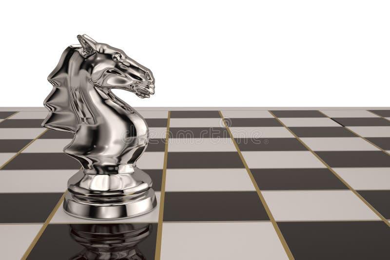 在棋盘的钢骑士棋子 3d例证 皇族释放例证