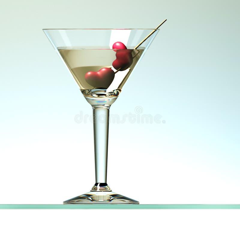 在棍子的两心脏在马蒂尼鸡尾酒鸡尾酒 库存例证