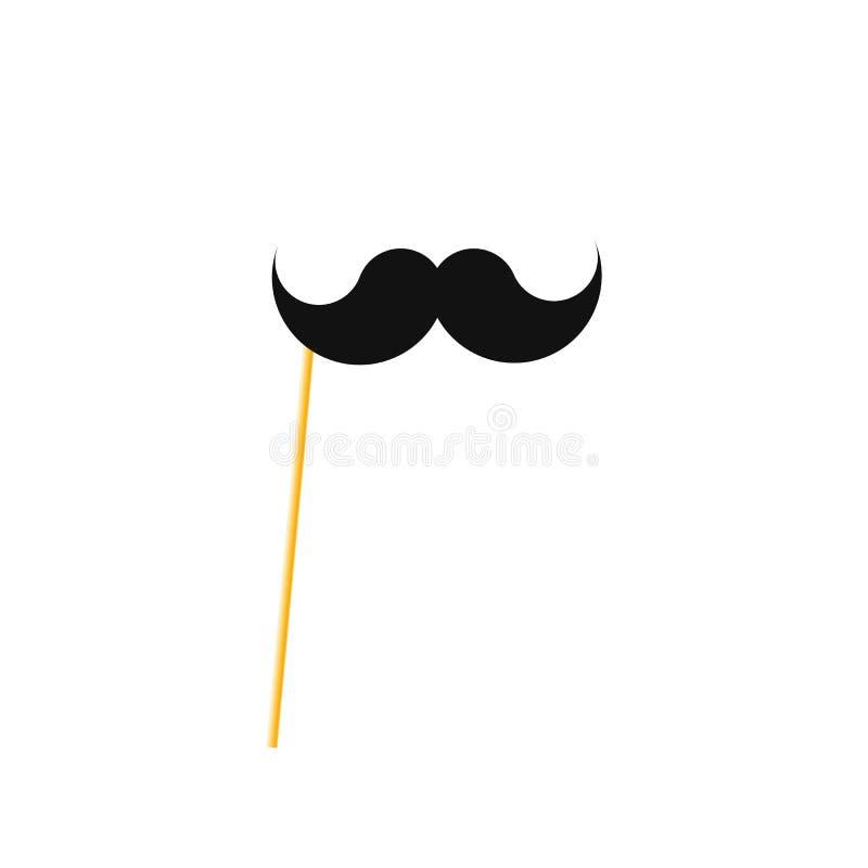 在棍子的假髭 在秸杆的纸髭 向量例证