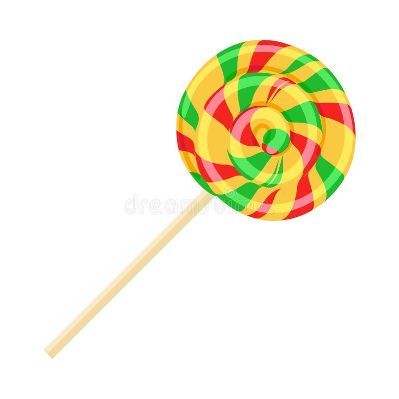 在棍子的焦糖镶边糖果 滑稽的甜点 皇族释放例证