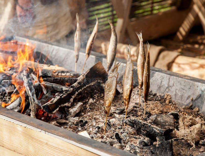在棍子的鱼在热的煤炭,自然鱼抽烟 图库摄影