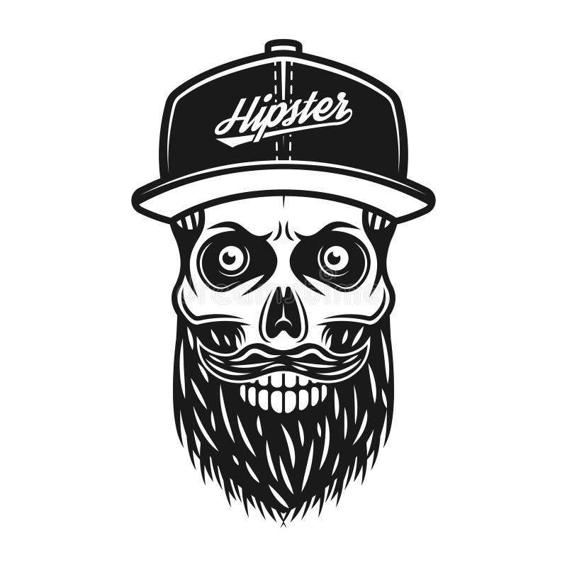 在棒球帽的有胡子的头骨有文本行家的 库存例证