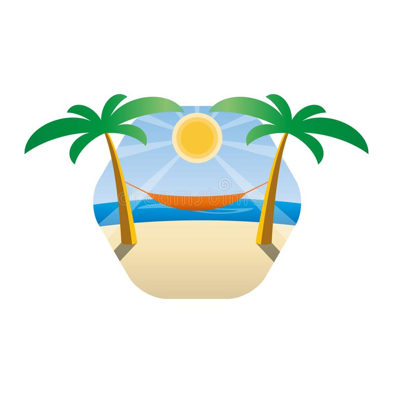 在棕榈树之间的吊床在一个热带海滩 太阳和海的背景 库存例证