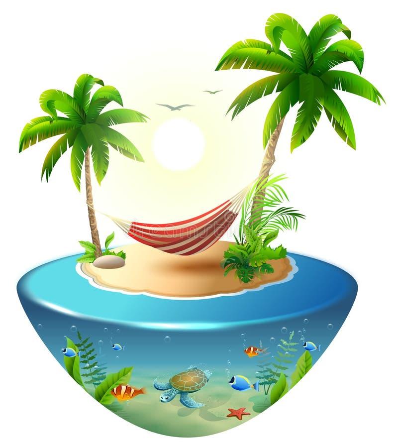 在棕榈树之间的镶边吊床在热带海岛上 天堂海滩假期在夏威夷 向量例证