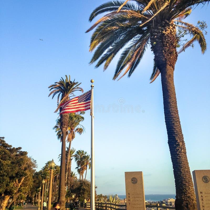 在棕榈树背景的美国国旗在圣塔巴巴拉 库存图片