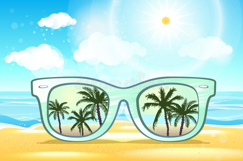 在棕榈树风景场面在浅兰的演播室,夏时概念,增加的事假空间的白色太阳镜反射日落 皇族释放例证