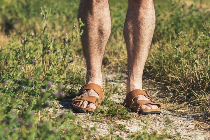 在棕色皮革凉鞋的男性腿 免版税库存图片