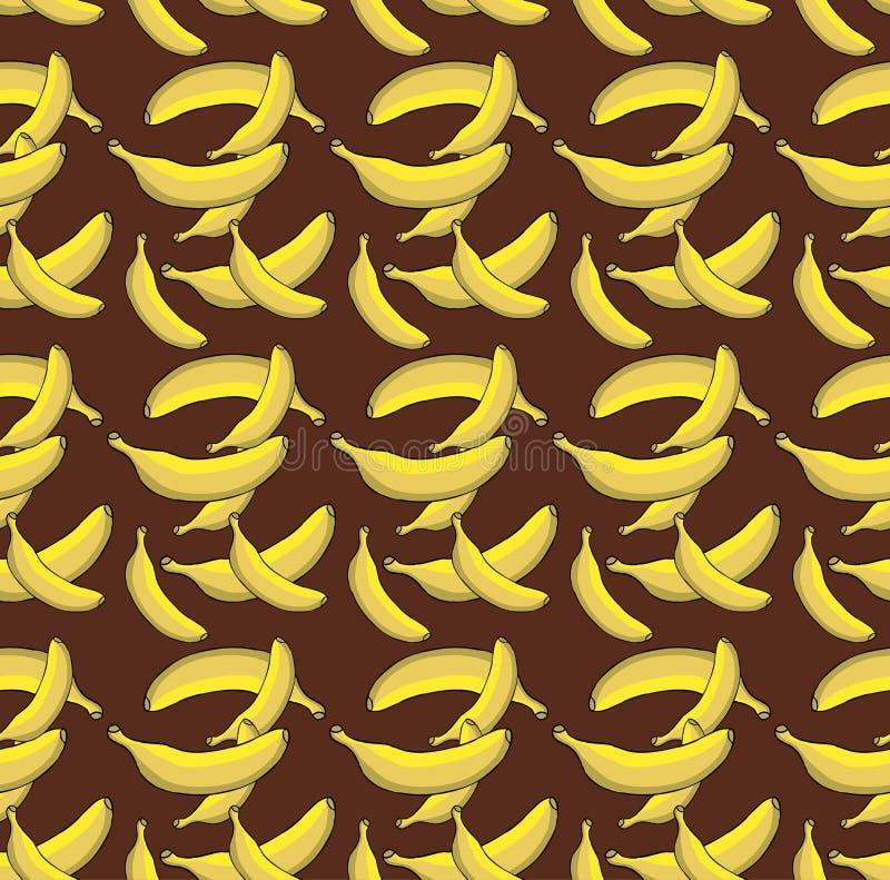 在棕色背景的另外黄色香蕉样式 皇族释放例证