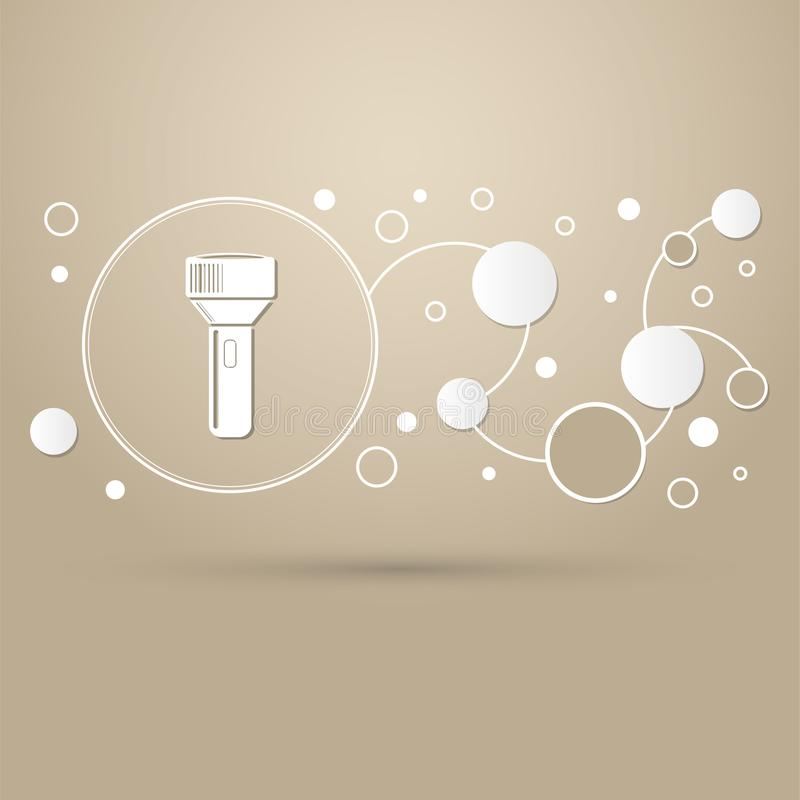 在棕色背景的手电象与infographic典雅式样和的现代设计 库存例证