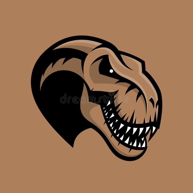 在棕色背景隔绝的恐龙顶头体育俱乐部传染媒介商标概念 库存例证