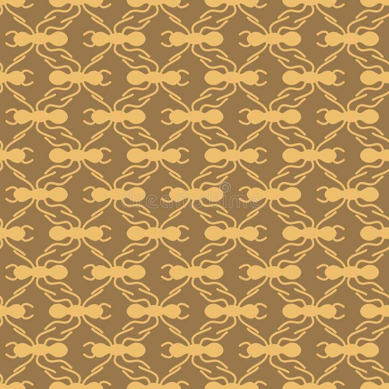在棕色蚂蚁几何样式无缝的重复背景的桔子 库存图片