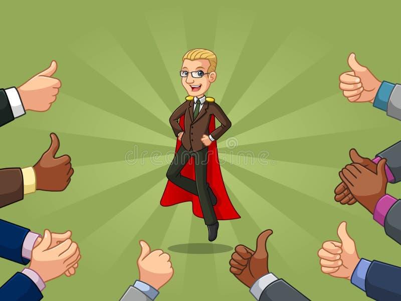 在棕色衣服的白肤金发的超级英雄商人与许多赞许和拍的手 皇族释放例证