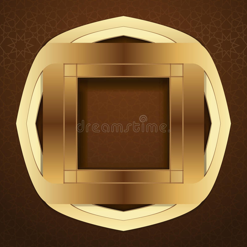 在棕色阿拉伯背景的典雅的伊斯兰教的模板设计 向量例证