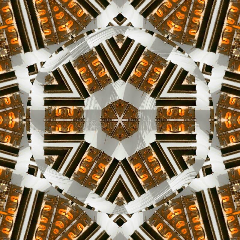 在棕色,桔子的装饰蔓藤花纹,白色 与六角元素的摩洛哥样式 免版税库存照片