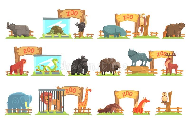 在棚子后的野生动物动物园集合的 库存例证