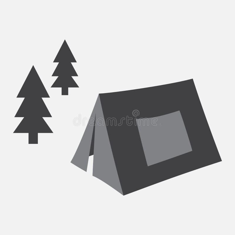 ?? 在森林传染媒介的帐篷 库存例证
