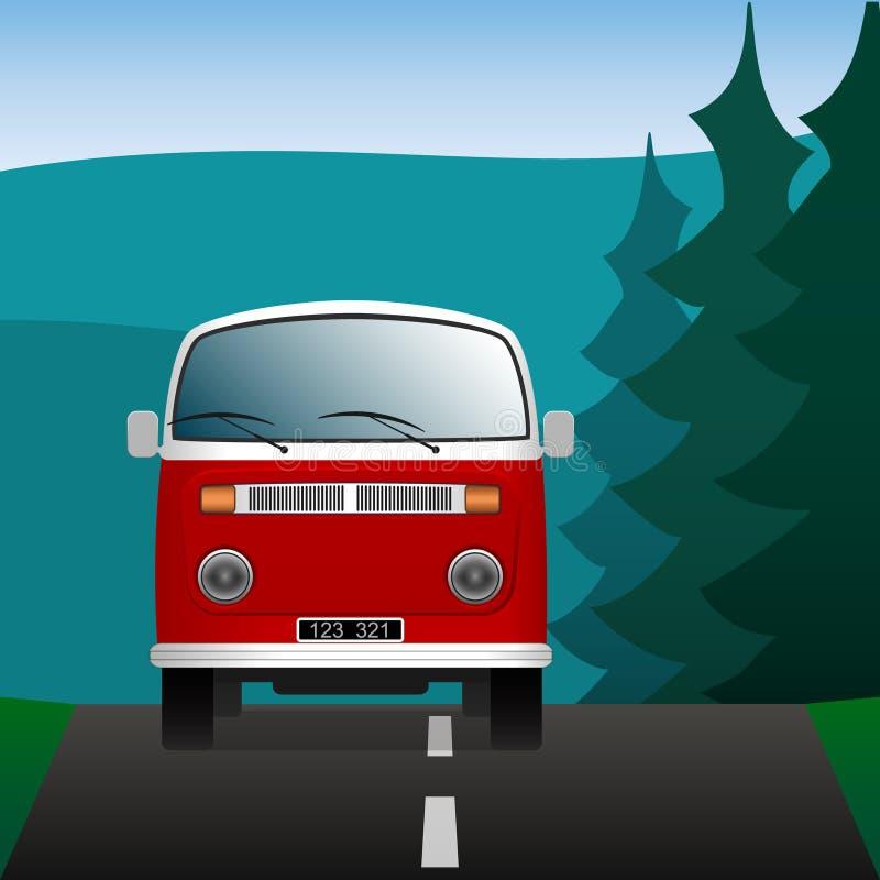 在森林公路的小巴 在风景的运输 蓝色云彩图象彩虹天空向量 皇族释放例证