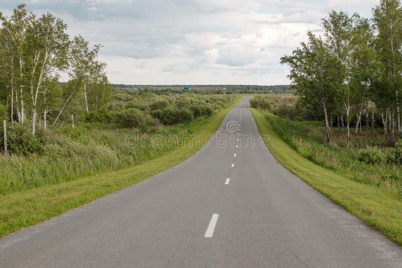 在森林和领域之间的一条农村路对一个小西伯利亚村庄 库存图片