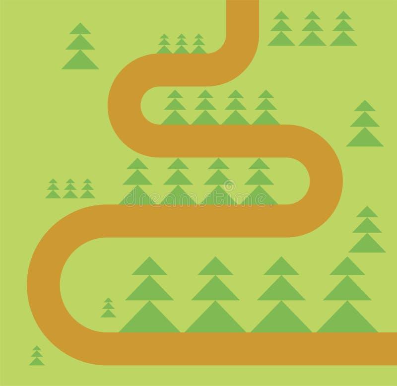在森林地图的路 森林小径 向量 皇族释放例证