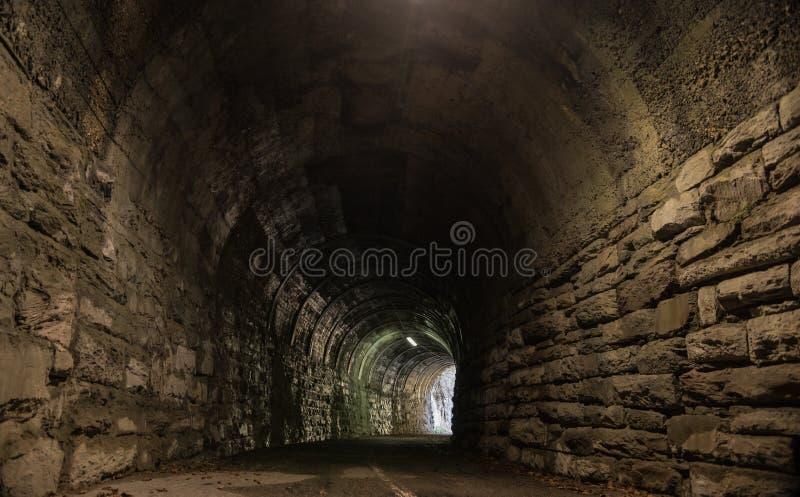 在森林墙壁的隧道入口由岩石做成 图库摄影