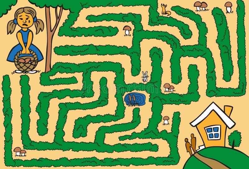 在森林失去的迷宫女孩 库存例证