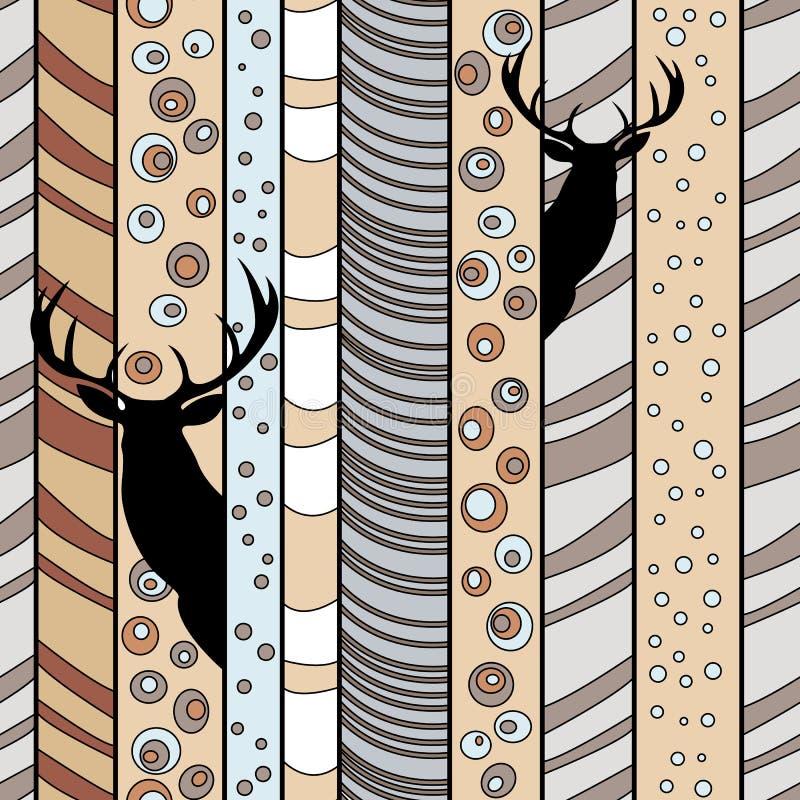 在森林无缝的条纹图形的鹿与手拉的设计和动物剪影 库存例证