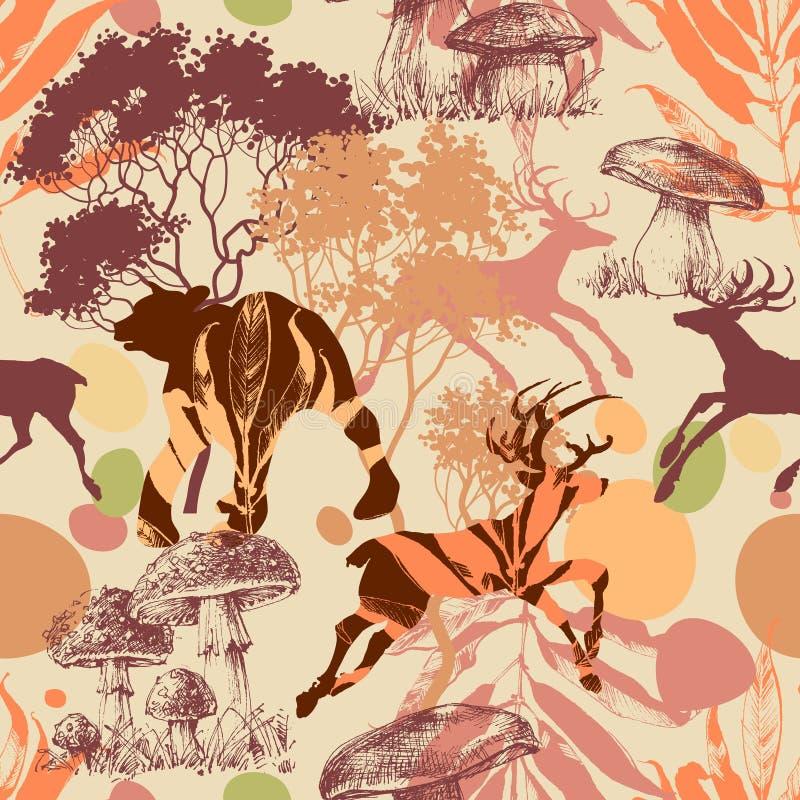 在森林无缝的样式的动物 库存例证