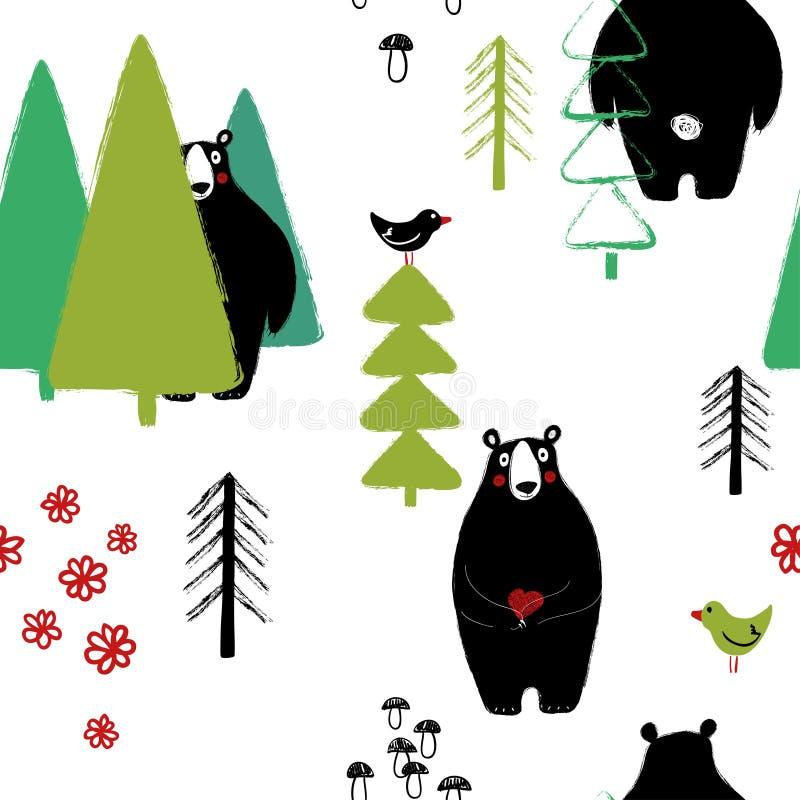 在森林无缝的样式的熊 库存例证
